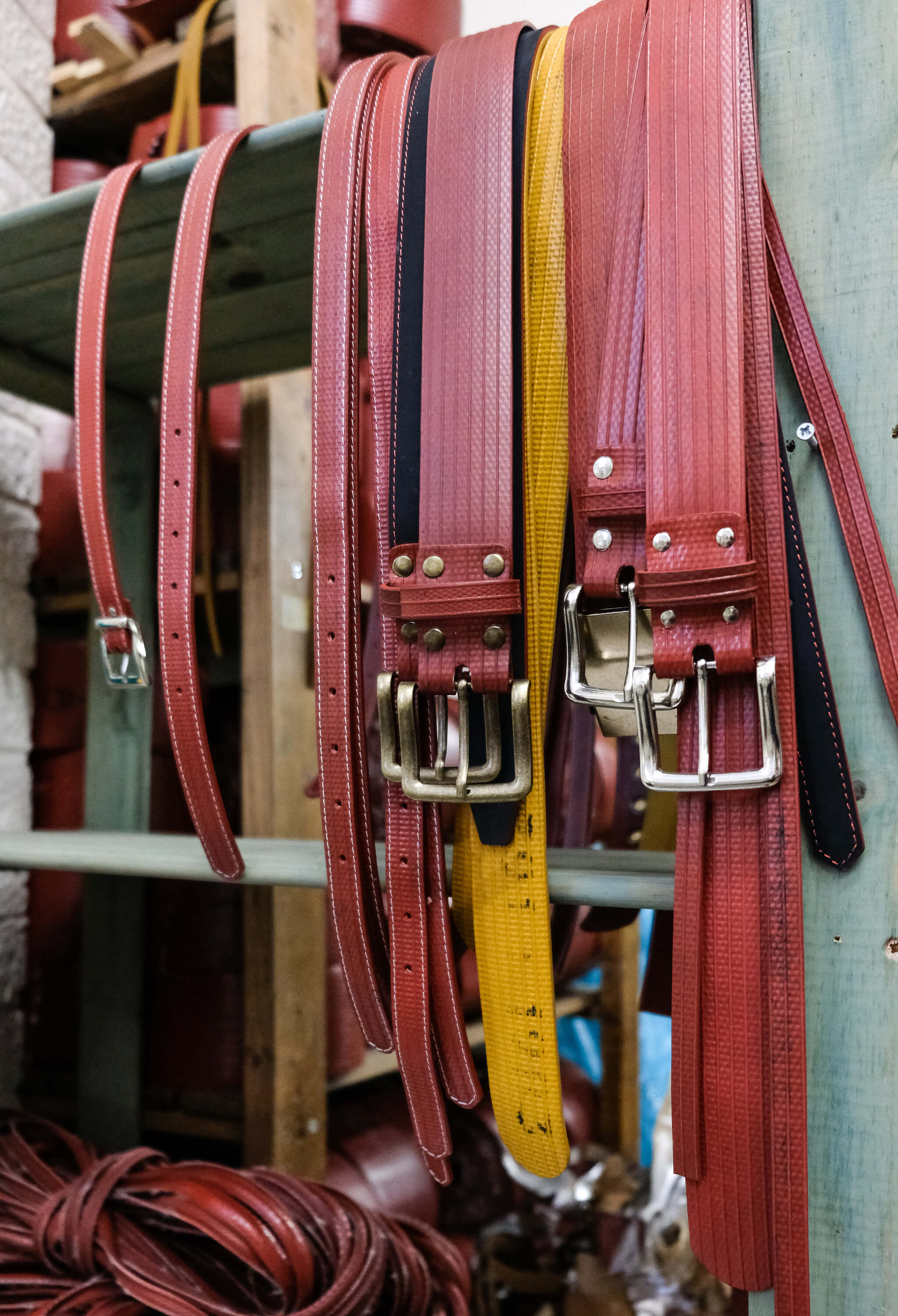 The belts Elvis & Kresse makes from fire hoses that otherwise would have gone to landfill.